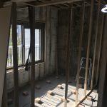 壁下地が出来てきて部屋の形が見えてきました(神戸市リノベーション)